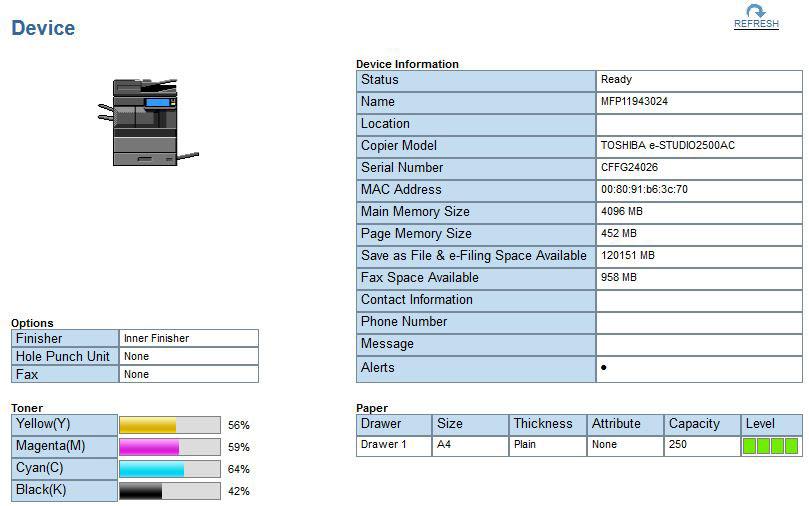 Tình trạng sử dụng máy photocopy Toshiba xem trên Top Access